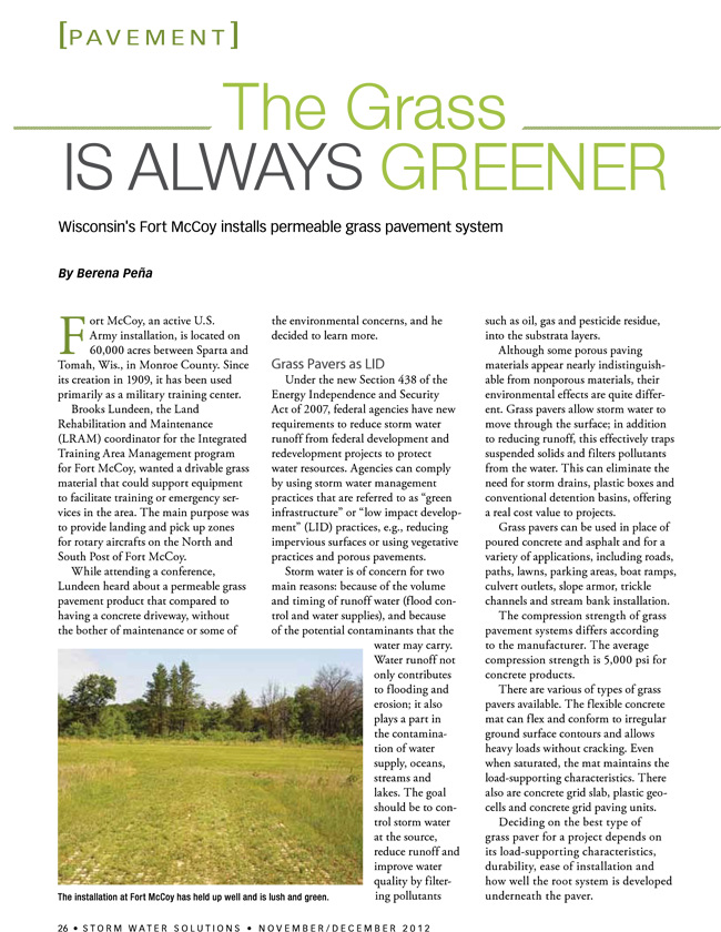 Article Written By Berena Pena Regarding Drivable Grass For Carlsbad Company Soil Retention