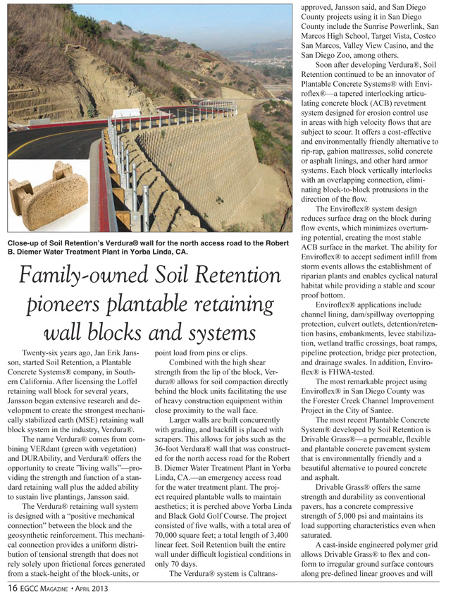 Article Written By Berena Pena For Carlsbad Company Soil Retention