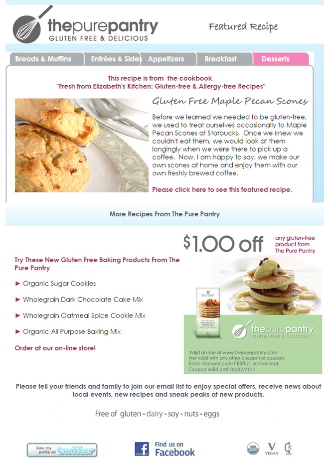 San Diego Custom Email Design and Delivery For The Pure Pantry
