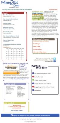 Email Marketing Design For Where2Eat.Com