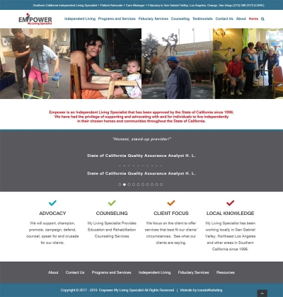 Website Design and Development For Los Angeles County Company Empower My Living Specialists