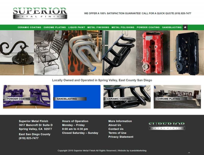 Custom Website Development For East County Company Superior Metal Finish